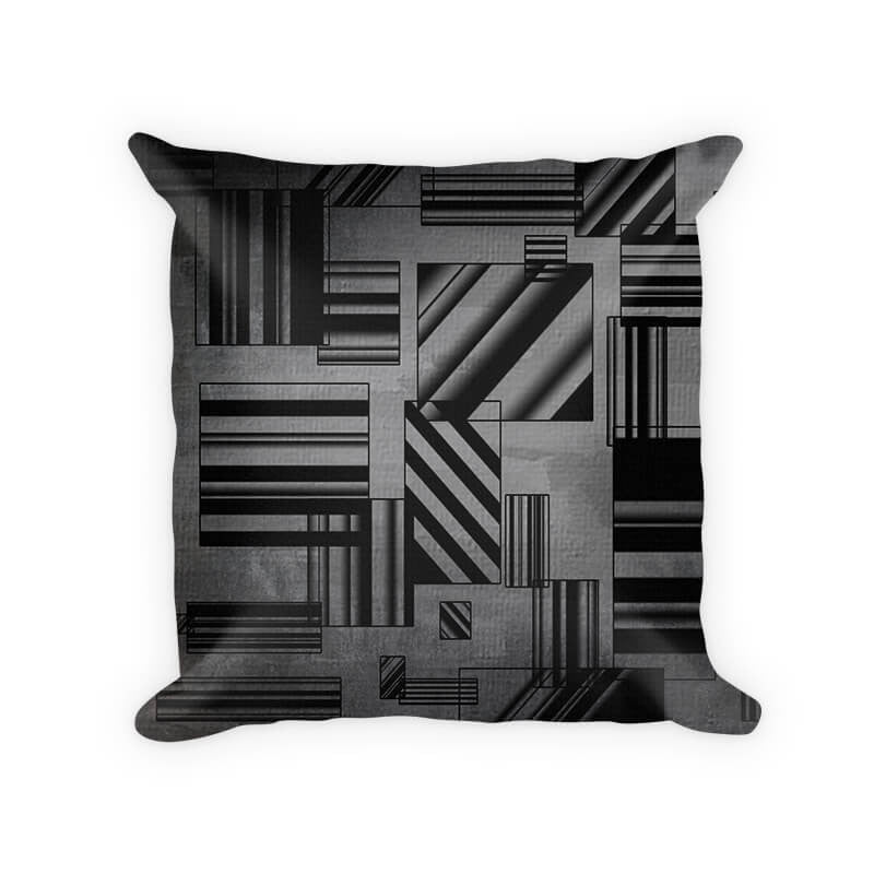 Rectangles Abstract I Woven Cotton Throw Pillow