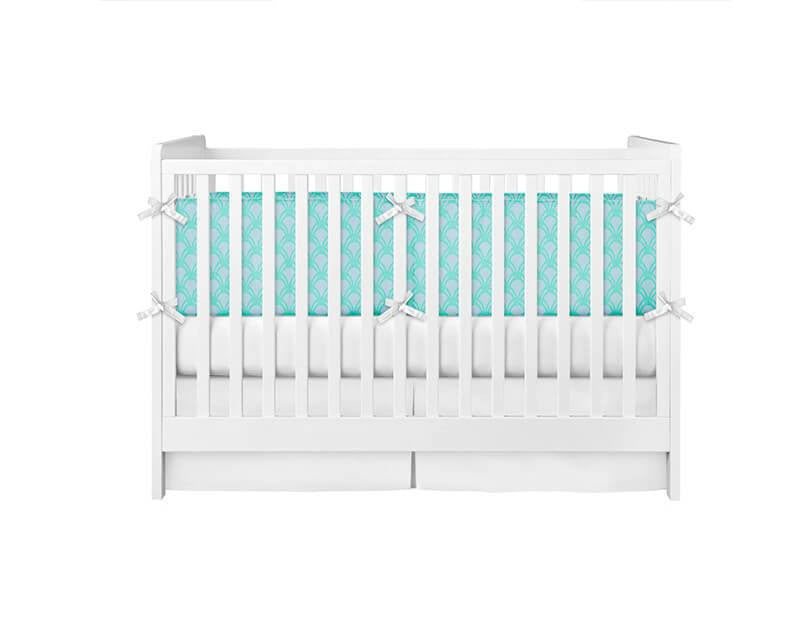 Turquoise and Gray Scales Crib Bumper - WallLillies