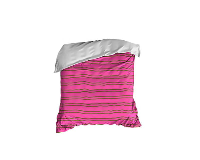 Lime Green and Pink Striped Crib Comforter - WallLillies