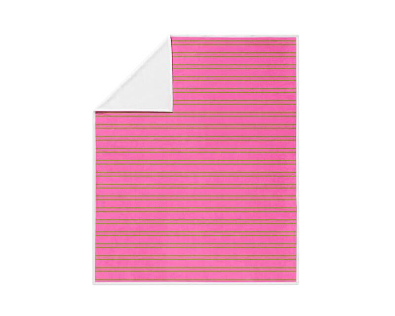 Lime Green and Pink Stripes Fleece Blanket - WallLillies