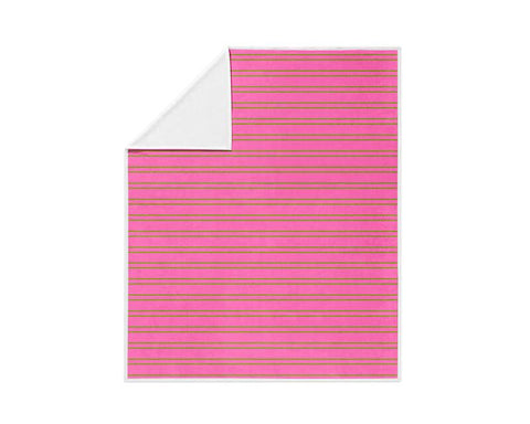 Lime Green and Pink Stripes Fleece Blanket