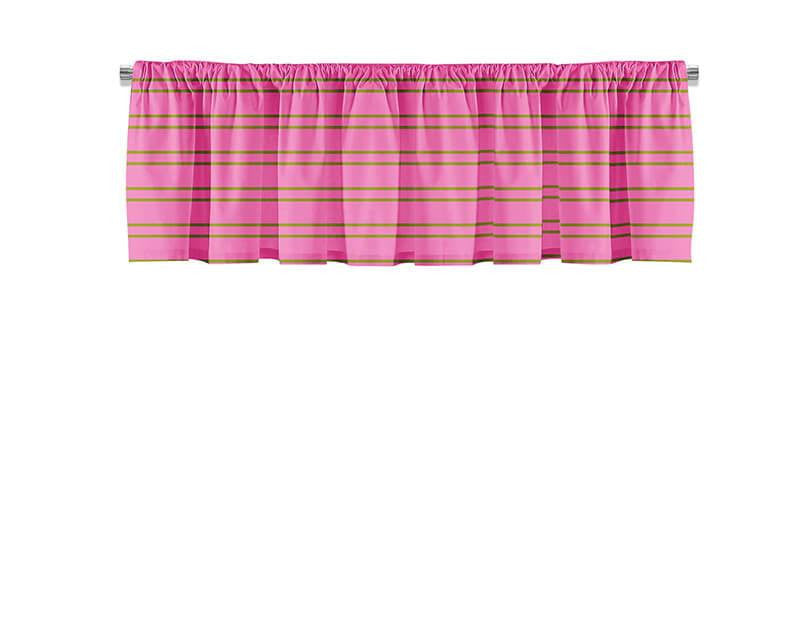 Lime Green and Pink Stripes Valance - WallLillies