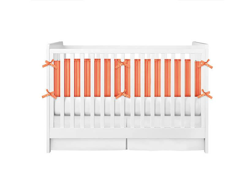 Stripes Red and Coral Crib Bumper - WallLillies