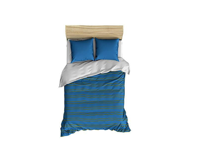 Steel Blue and Olive Stripes Small Comforter - WallLillies