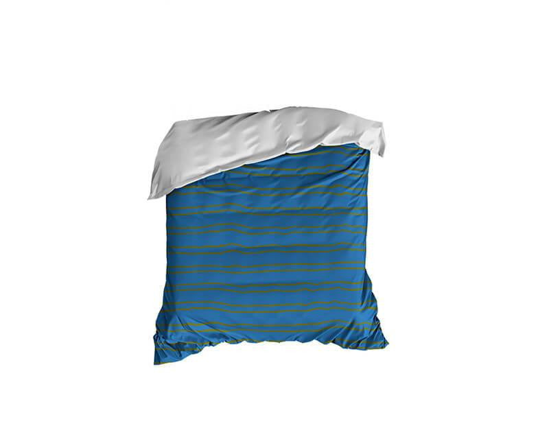 Steel Blue and Olive Striped Crib Comforter - WallLillies