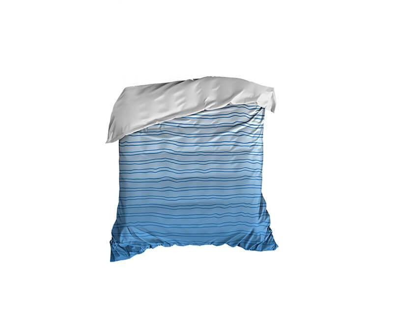 Steel Blue Striped Gradient Crib Comforter