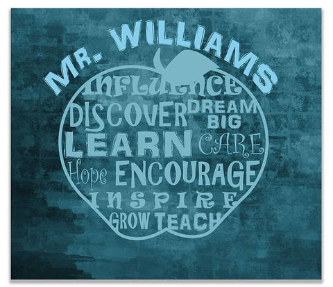 Personalized Teacher's Influence Apple Word Collage Print Wall Art