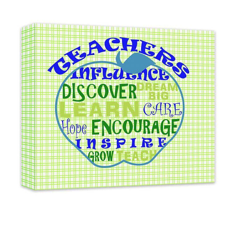 Personalized Teacher's Influence Apple Word Collage Canvas Wall Art - WallLillies