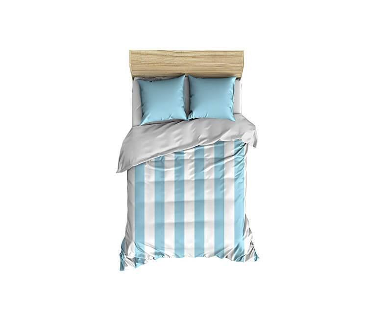 Light Blue Thick Stripes Small Comforter - WallLillies