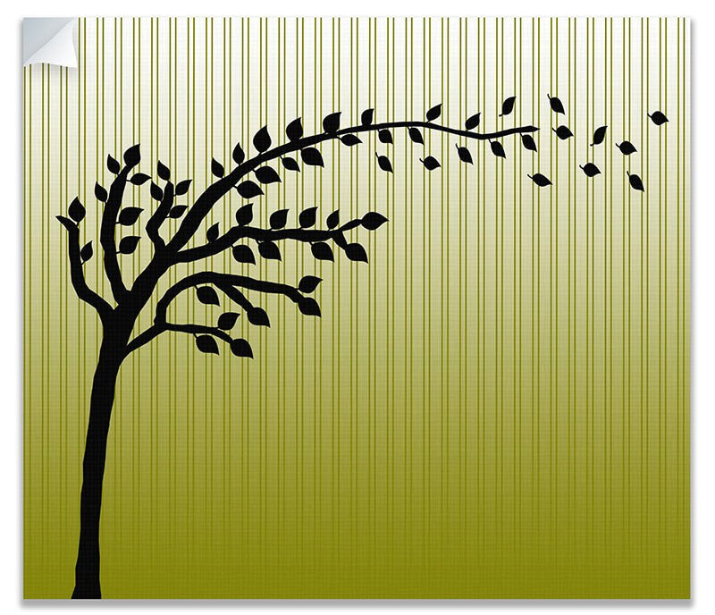 Tree with Blowing Leaves Print Wall Art