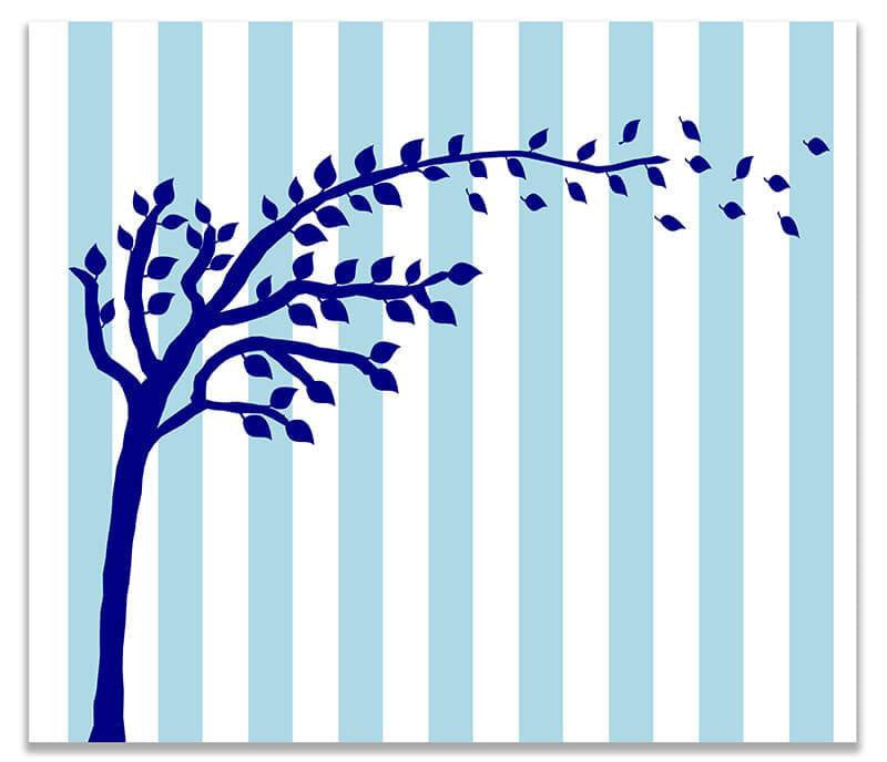 Tree with Blowing Leaves Children's Print Wall Art - WallLillies