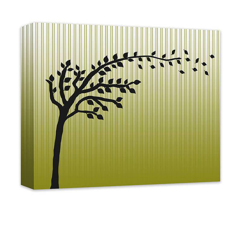 Tree with Blowing Leaves Canvas Wall Art – WallLillies