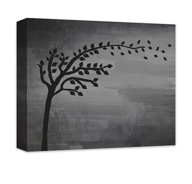 Tree with Blowing Leaves Canvas Wall Art - WallLillies