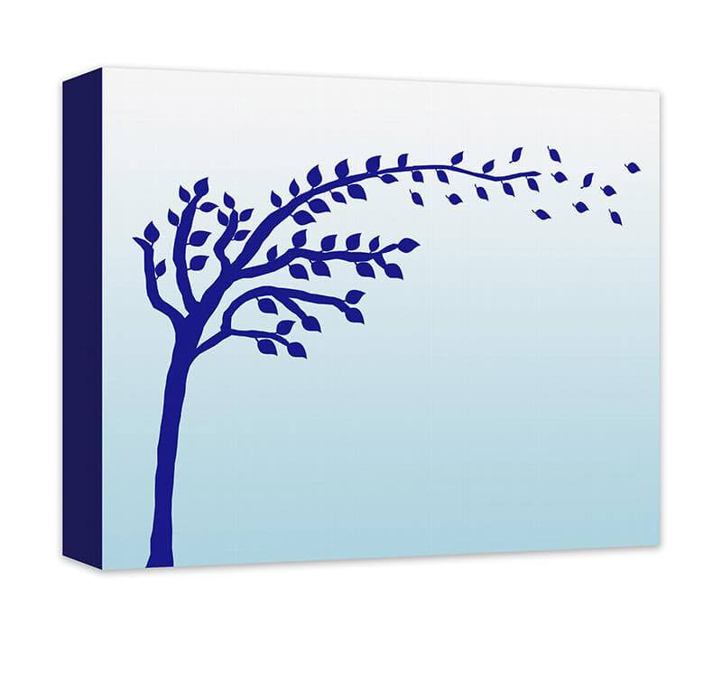 Tree with Blowing Leaves Children's Canvas Wall Art