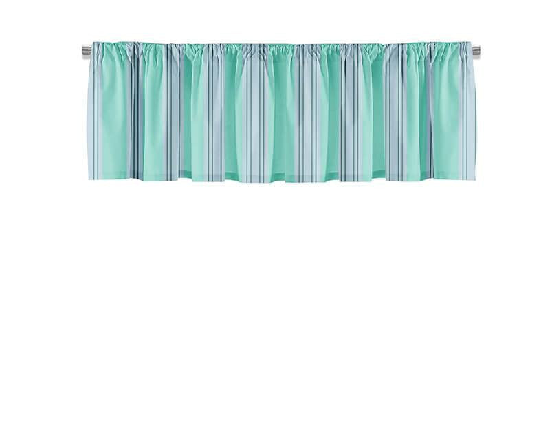 Turquoise and Gray Stripes Valance - WallLillies