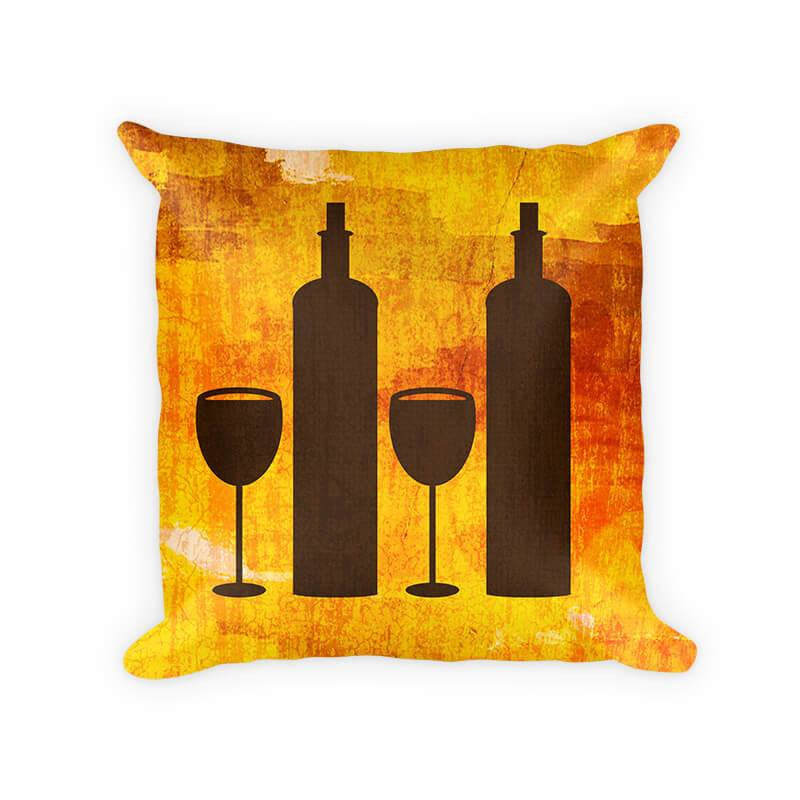 Wine Duo Cotton Poly Throw Pillow - WallLillies