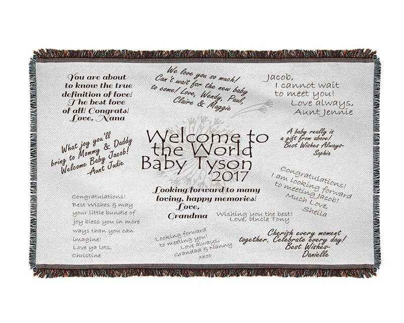 Welcome to the World Well Wishes Woven Blanket