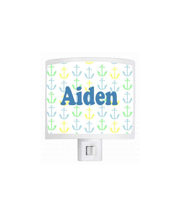 Personalized Anchor Pattern Night Light - WallLillies