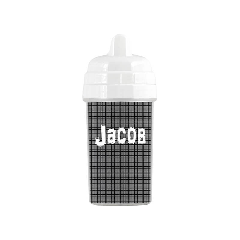 Personalized Black and Gray Plaid Sippy Cup