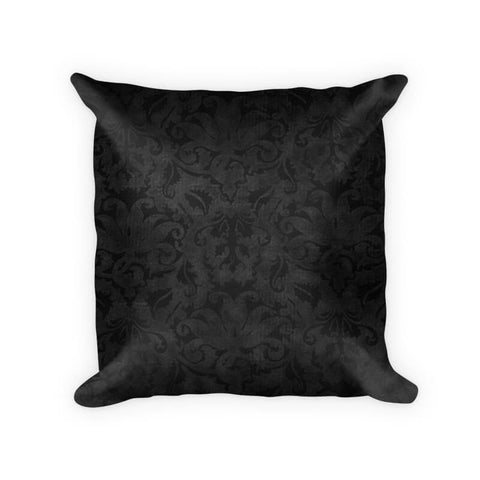 Black Brocade Cotton Poly Throw Pillow