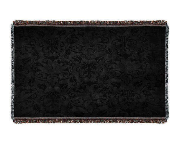 Black Brocade Woven Blanket - WallLillies