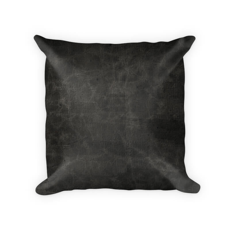 Black Leather Cotton Poly Throw Pillow - WallLillies