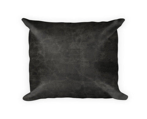 Black Leather Woven Cotton Throw Pillow