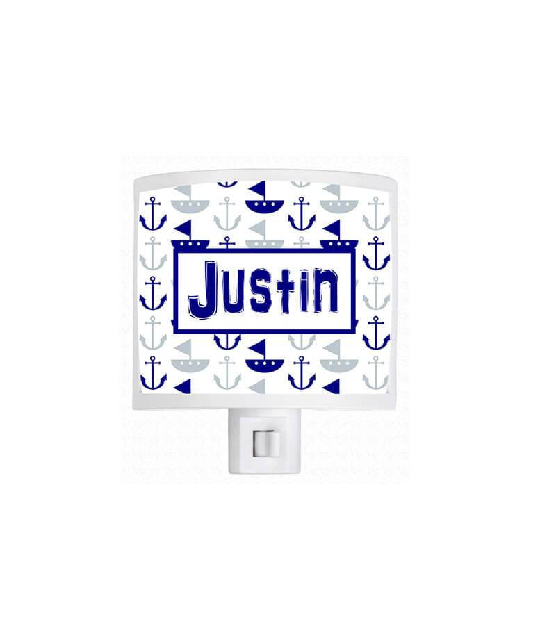 Personalized Boat and Anchor Pattern Night Light - WallLillies