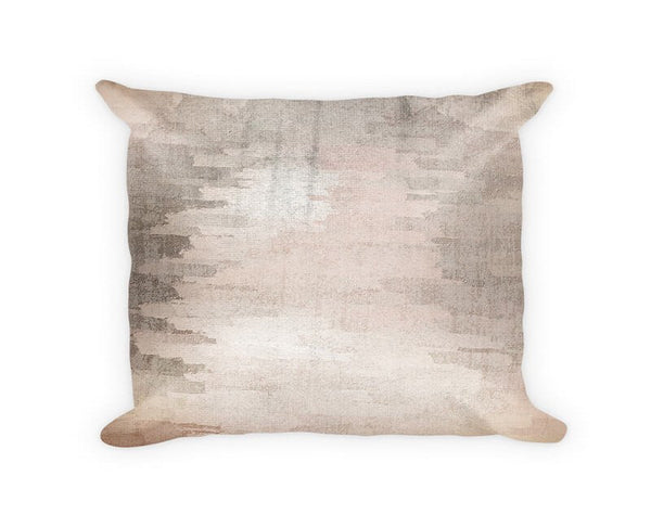 Gray Brushed Screen Woven Cotton Throw Pillow