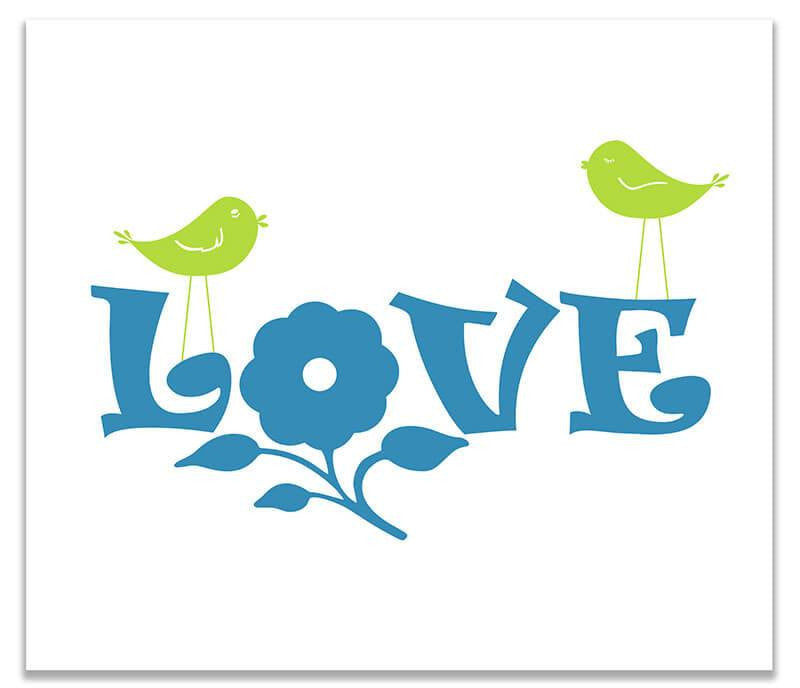 Love with Flower and Little Birdies Print Wall Art - WallLillies