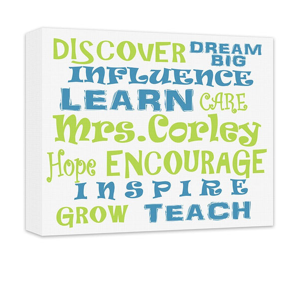 Personalized Teacher's Influence Word Collage Canvas Wall Art - WallLillies