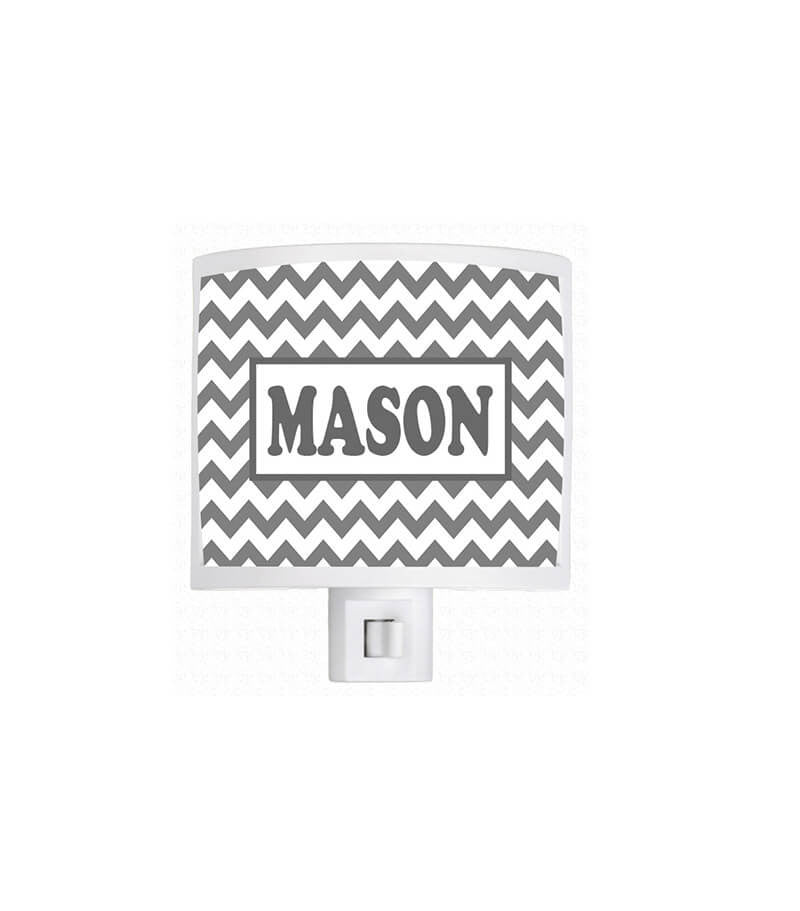 Personalized Gray Chevron Night Light - WallLillies