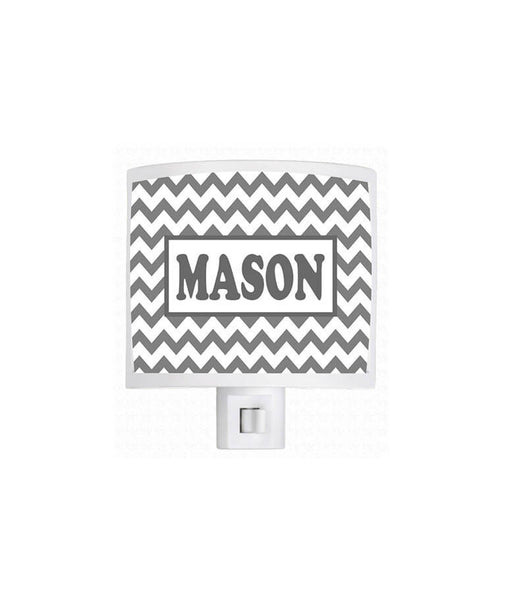 Personalized Gray Chevron Night Light