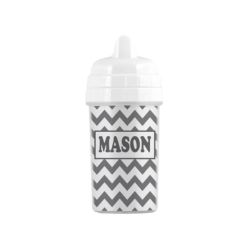 Personalized Gray Chevron Sippy Cup - WallLillies