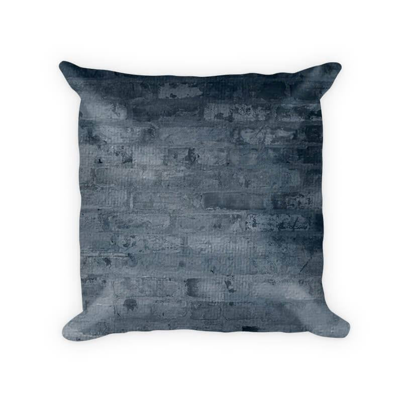 Cool Blue Brick Cotton Poly Throw Pillow - WallLillies