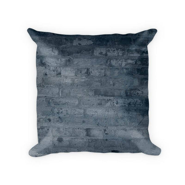 Cool Blue Brick Cotton Poly Throw Pillow