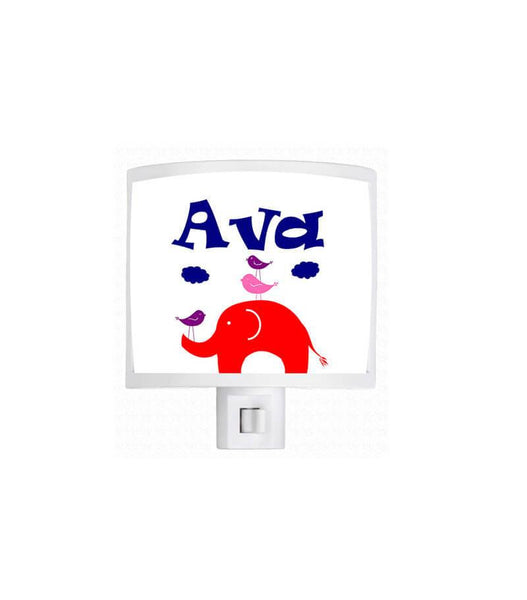 Personalized Elephant and Little Birdies Night Light - WallLillies