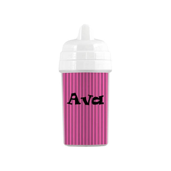Personalized Hot Pink and Black Stripes Sippy Cup - WallLillies