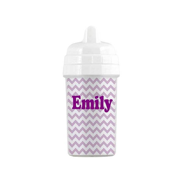 Personalized Purple Chevron Pattern Sippy Cup - WallLillies