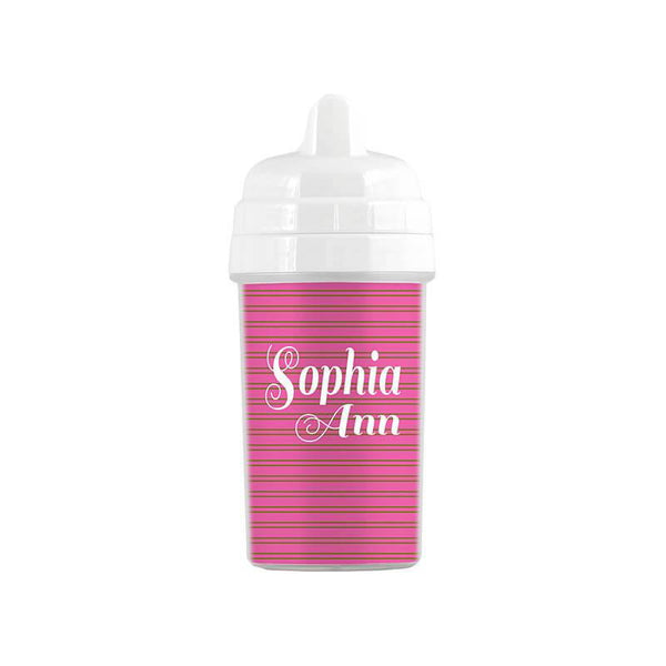 Personalized Pink and Lime Stripes Pattern Sippy Cup