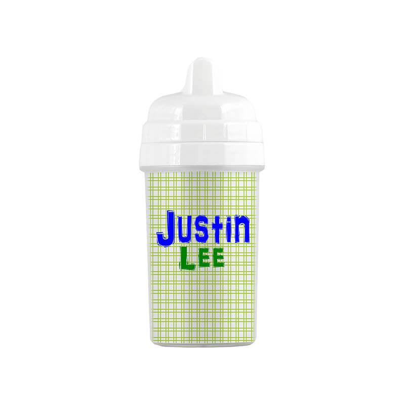 Personalized Lime Plaid Pattern Sippy Cup