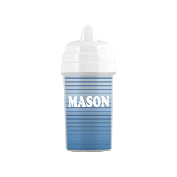 Personalized Steel Blue Striped Gradient Sippy Cup - WallLillies