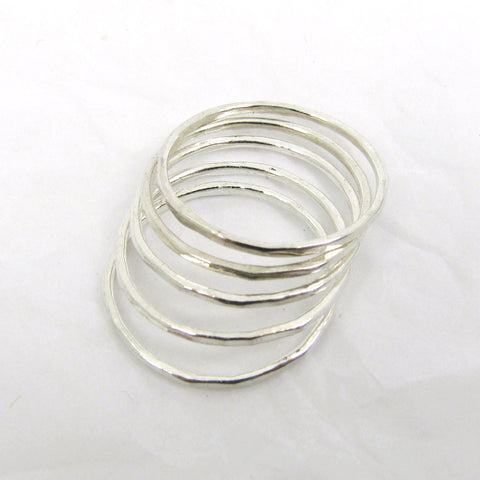Fine Silver Thin Stacking Rings, set of 5