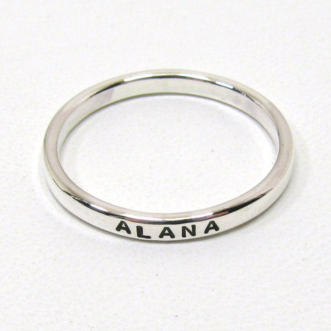 Personalized Sterling Silver Stacking Rings - 2.4 mm