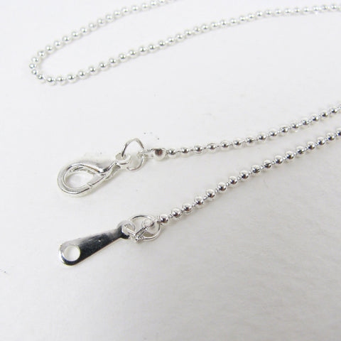 "17"" Silver Plated Ball Chain 1.5mm, Pendant Chain"