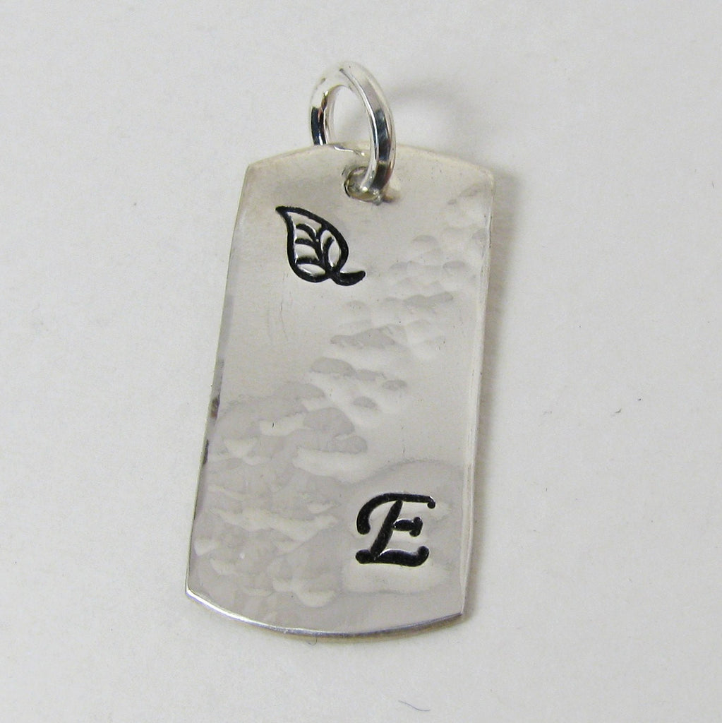 Personalized Fine Silver Dog Tag Pendant - Design, Initial