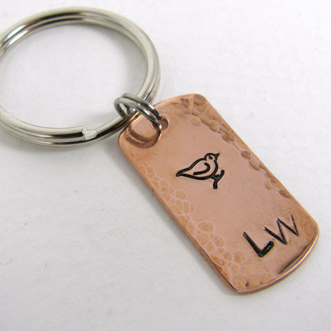 Personalized Copper Dog Tag Key Ring