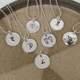 "Personalized Fine Silver Pendant - 5/8 "" Charm, Mothers Day, Birthday Day, Initials, Names or Dates"