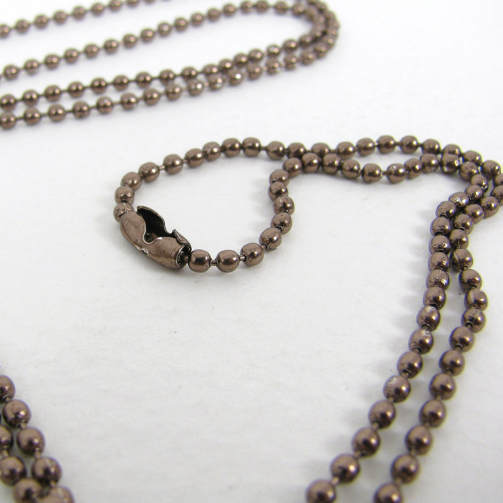 Coffee Brown Ball Chain Necklace with matching connector - 2mm X 27""