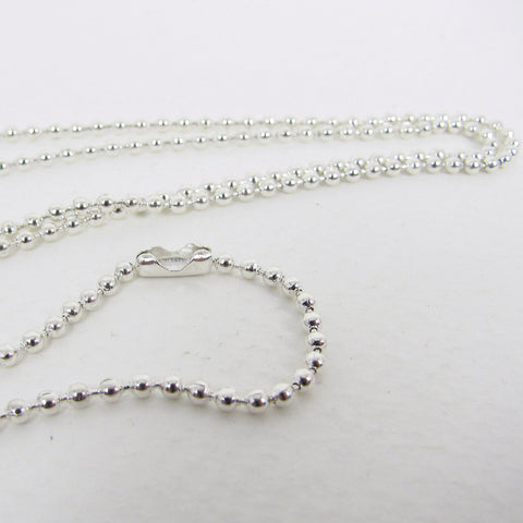 Silver Plated Ball Chain Necklace with matching connector - 2mm X 27""